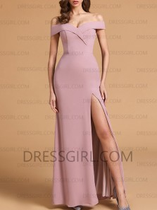 Simple Mermaid Off the Shoulder Blush Satin Long Prom Dresses Under 100,Cheap Bridesmaid Dresses with Split