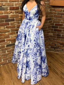 Chic A-Line V Neck Blue Floral Printed Satin Long Prom Dresses with Pockets,Formal Evening Party Dresses
