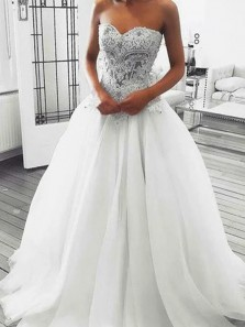 Exquisite A-Line Sweetheart Tulle Lace Wedding Dresses,Bridal Gown