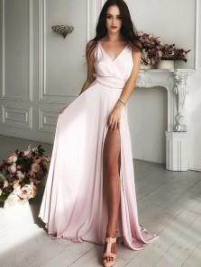 Elegant A-Line V Neck Open Back Light Pink Long Prom Dresses with Side Split,Long Formal Dresses DG1018007