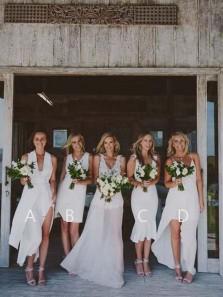 Simple Mismatched Chiffon Bridesmaid Dresses under 100
