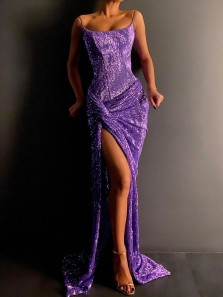 Sexy Mermaid Scoop Neck Spaghetti Straps Purple Sparkly Satin Long Prom Evening Dresses with Split,Formal Party Dresses