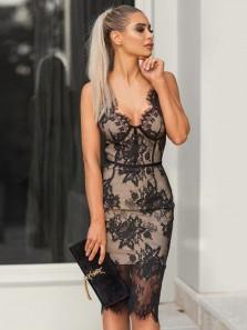 Sexy Sheath V Neck Open Back Black Lace Midi Length Evening Party Dresses,Wedding Guest Dresses