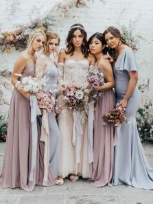 4 Styles Chiffon Boho Bridesmaid Dresses Spring Wedding Party Dresses 2021