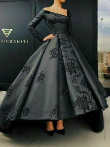 Unique V-Neck Embroidery Applique Black Satin High-Low Prom Dresses,Long Sleeve Evening Party Dresses DG1107007