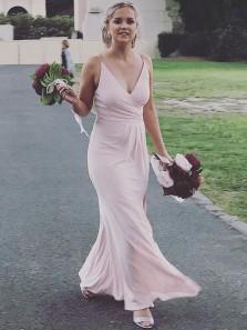 Simple Sheath V Neck Open Back Pastel Chiffon Long Bridesmaid Dresses