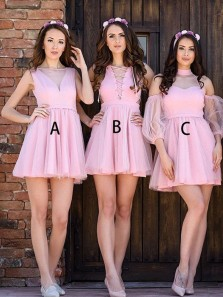 Cute A-Line Round Neck Sleeveless Pink Tulle Short Bridesmaid Dresses,Cocktail Party Dresses
