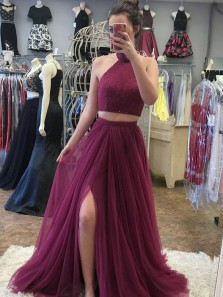 Charming Two Piece A-Line Halter Open Back Burgundy Tulle Long Prom Dresses with Beading,Evening Party Dresses