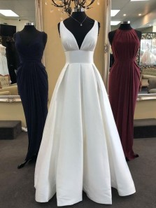 Simple A-Line V Neck Open Back White Satin Long Prom Dresses with Pockets,Evening Party Dresses