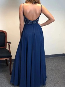 Exquisite A-Line V Neck Spaghetti Straps Backless Navy Blue Chiffon Long Prom Dresses with Beading and Split