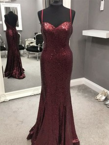 Charming Mermaid Sweetheart Spaghetti Straps Backless Burgundy Sequins Long Prom Dresses,Evening Party Dresses