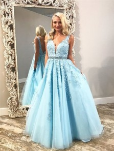 Charming A-Line V Neck Open Back Sky Blue Tulle Long Prom Dresses with Appliques,Quinceanera Dresses