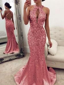 Sparkly Mermaid Halter Open Back Pink Beaded Long Prom Dresses,Formal Evening Dresses DG0226007