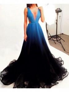 Unique A-Line V Neck Open Back Blue Black Gradient Tulle Long Prom Dresses,Evening Party Dresses