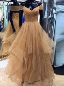 Classy Ball Gown Off the Shoulder Open Back Champagne Tulle Long Prom Dresses,Quinceanera Dresses