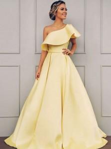 Stunning A-Line One Shoulder Open Back Daffodil Satin Long Prom Dresses,Elegant Evening Party Dresses