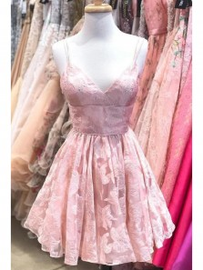 Cute A-Line V Neck Open Back Pink Lace Short Homecoming Dresses,Short Prom Evening Dresses