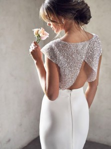 Modern Two Piece Round Neck Open Back White Sequins Wedding Dresses,Mermaid Wedding Dress with Sleeves