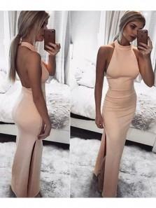 Sexy Mermaid Halter Backless Pink Elastic Satin Long Prom Dresses with Side Split,Evening Party Dresses DG0917007