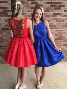 Cute A-Line Round Neck Red Satin Short Homecoming Dresses with Beading,Formal Party Cocktail Dresses