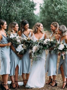 Simple Sheath Cowl Neck Spaghetti Straps Blue Elastic Satin Tea Length Bridesmaid Dresses with Split Under 100
