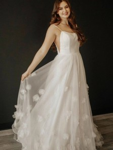 Charming A-Line Scoop Neck Ivory Tulle Handmade Flowers Long Wedding Dresses Formal Prom Dresses