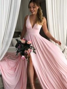 Simple A-Line V Neck Open Back Light Blue Satin Long Prom Dresses with High Split,Evening party Dresses Under 100