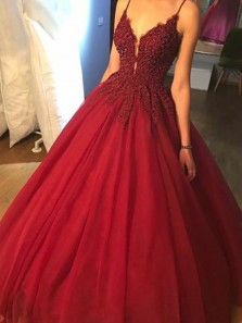 Luxurious A-Line Spaghetti Straps V Neck Burgundy Tulle Long Prom Dresses with Beading,Quinceanera Dresses