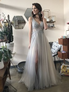 Charming A-Line V Neck Open Back Grey Tulle Long Prom Dresses with Beading,Evening Party Dresses