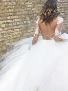 Stylish A-Line Round Neck Long Sleeve Backless White Tulle Wedding Dresses,2019 Lace Wedding Dresses