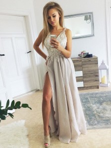 Stunning A-Line V Neck Open Back Grey Long Prom Dresses with Side Split,Charming Evening Party Dresses