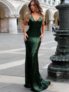 Charming Halter V Neck Cross Back Green Sequins Mermaid Long Prom Dresses,Elegant Formal Party Dresses