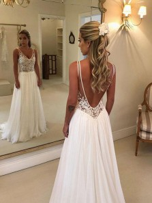Romantic A-Line V Neck Backless White Chiffon Long Wedding Dresses with Lace