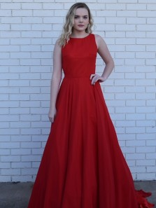 Elegant A-Line Round Neck Backless Red Satin Long Prom Dresses with Pockets,Evening Party Dresses