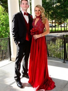 Gorgeous A-Line V Neck Halter Open Back Red Satin Long Prom Dresses with Beading,Formal Party Dresses