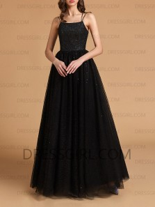 Glitter A-Line Scoop Neck Cross Back Black Sparkly Tulle Long Prom Dresses,Formal Evening Party Dresses