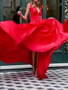 Simple A-Line V Neck Open Back Red Satin Long Prom Evening Dresses Under 100,Formal Party Dresses