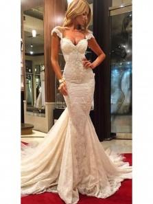 Gorgeous V Neck Illusion Back Cap Sleeves Wedding Dresses Court Train Lace Sexy Mermaid Prom Dress