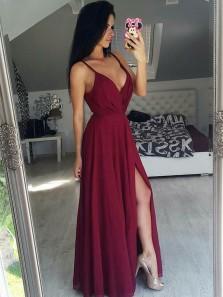 Simple A Line V Neck Open Back Split Burgundy Lace Prom Dresses, Elegant Evening Dresses