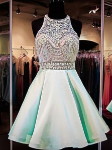 A Line Sleeveless Mint/Short Homecoming Dresses With Beads