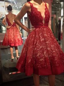 Classy V Neck Red Lace Knee Length Homecoming Dresses,Open Back Short Prom Dresses DG9012008