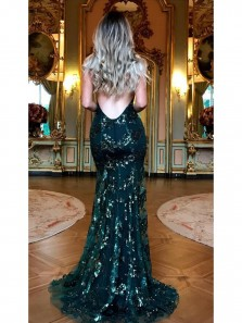 2018 Charming Mermaid Silver Sequin Unique Design Popular Sexy Prom Dress, Evening Party Dresses