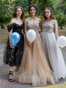 Gorgeous Ball Gown Sweetheart Open Back Champagne Beading Long Prom Dresses,Birthday Party Dresses,Quinceanera Dresses