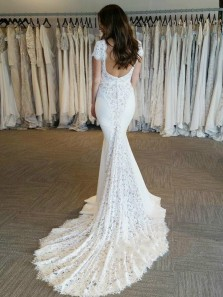 Fairy Mermaid V Neck Cap Sleeve Backless White Lace Wedding Dresses with Train