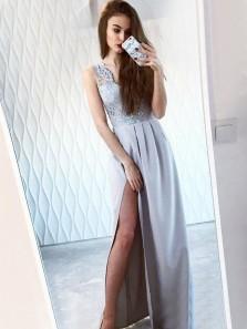 Unique A-Line V Neck Sleeveless Light Grey Satin Long Prom Dresses with Appliques,Side Split Evening Party dresses DG8001
