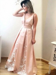 Charming V Neck Pink Satin A-Line Long Prom Dresses with Lace,Elegant Evening Party Gown DG8002