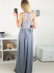 Fashion A-line Halter Grey Elastic Satin Long Prom Dresses with Lace,Formal Party Dresses DG8003