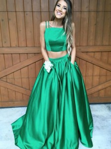Chic A-line Spaghetti Straps Two Piece Green Satin Long Prom Dresses with Pockets,Charming Evening Party Dresses DG8004