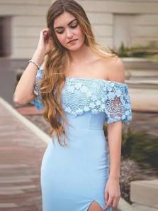 Charming Off the Shoulder Light Blue Elastic Satin Sheath Long Prom Dresses with Side Split,Evening Party Dresses DG8009