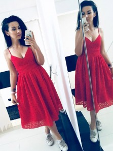 Chic A-Line Spaghetti Straps Red Lace Below Knee Length Prom Homecoming Dresses,Vintage Cocktail Party Dresses DG8011
